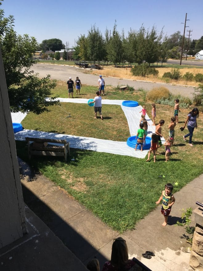 Slip 'n slide kickball