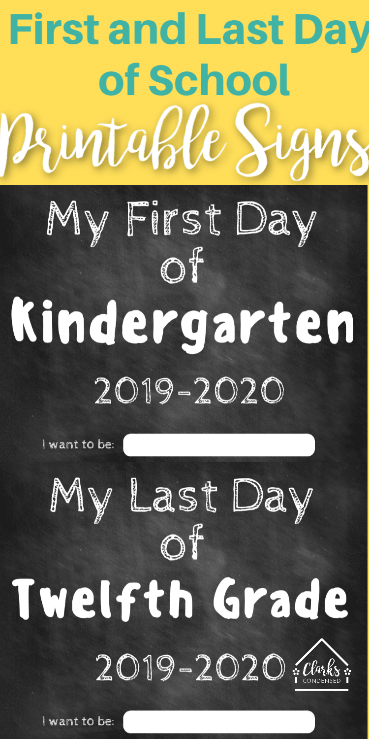 First Day of School Printable Sign / Last Day of School Printable Sign / Back to School / Back to School Printables via @clarkscondensed