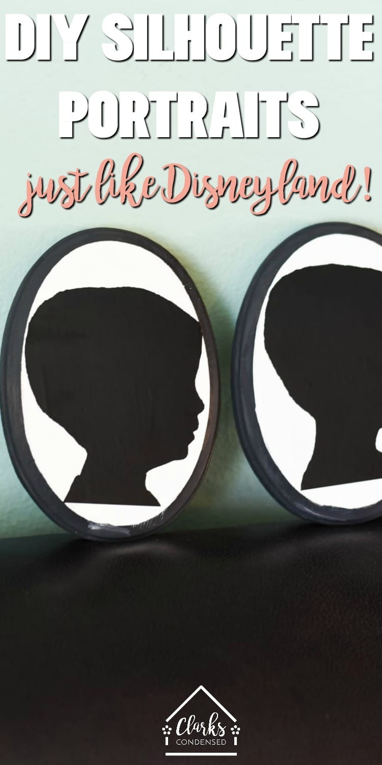 Make your own Silhouette portrait using your Cricut machine - such a fun idea for a gift or for your own home. Very similar to the Disneyland portraits available on Main Street USA. #silhouette #silhouetteportrait #shadowart #disneylandsilhouette via @clarkscondensed