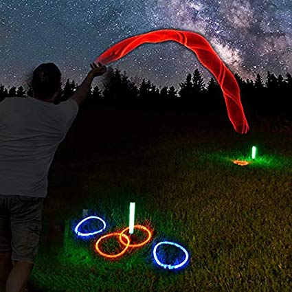 GlowCity LED Ring-Toss Game - Glow-in-The-Dark Dazzling Color Fun for Kids and Adults – Light Up Your Beach, Lawn and Backyard Parties