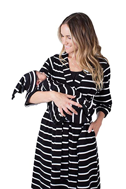 Matching Maternity/Delivery Robe with Baby Swaddle Set, Mom and Baby