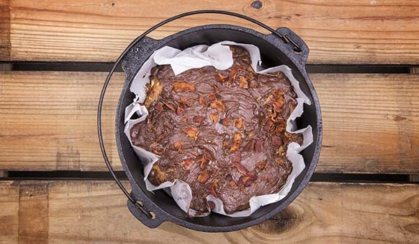 Dutch Oven Peanut Butter Bacon Chocolate Bars