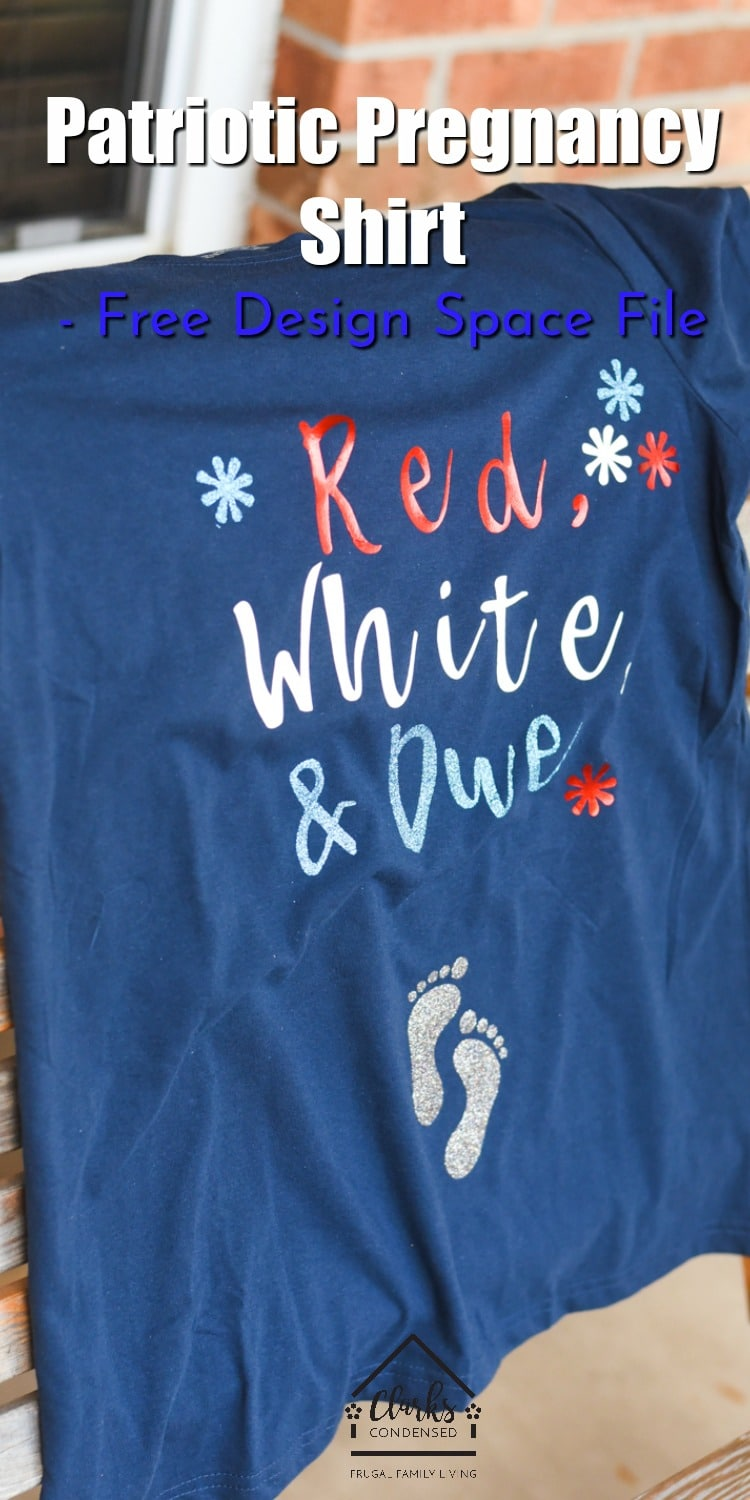 Red, White, and Due Pregnancy Shirt + Design Space File / Fourth of July Maternity Shirt via @clarkscondensed
