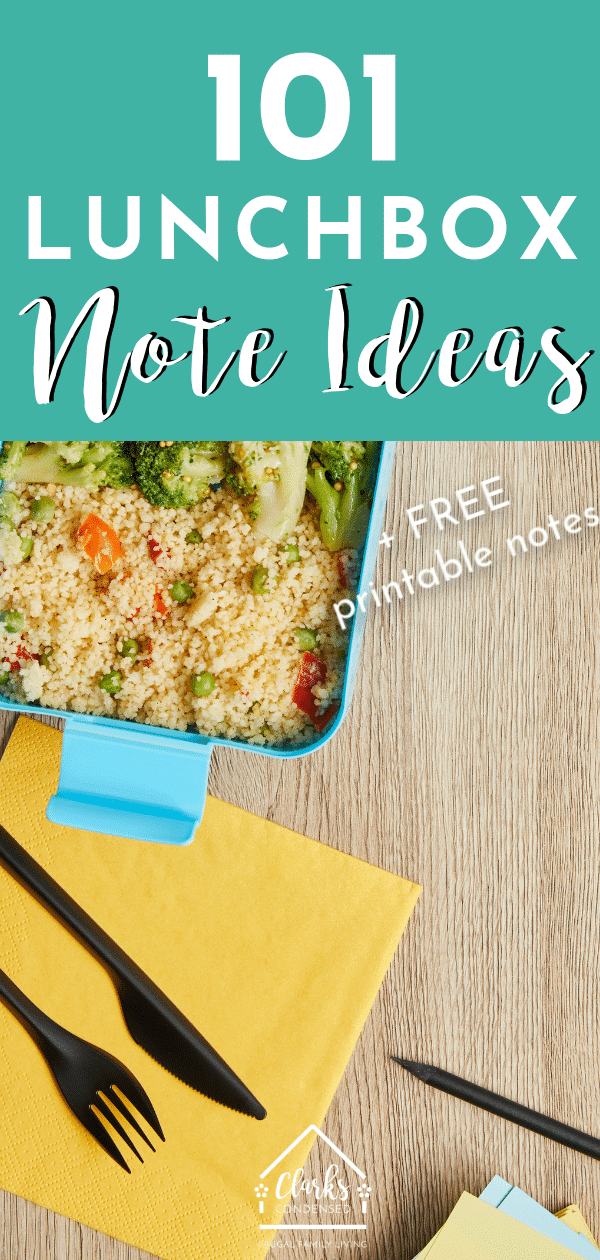 101 Lunch Box Note Ideas - Quotes, Riddles, Jokes, and More! / Printable Lunch box notes / lunch ideas for kids #lunchbox #lunchideas #lunchboxnotes #printablenotes via @clarkscondensed