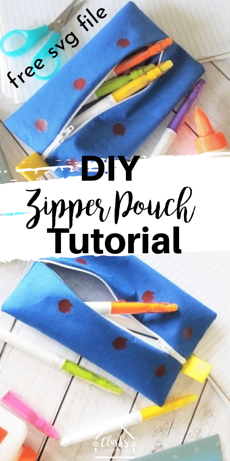 DIy Zipper Pouch / Cricut Sewing Project / Cricut Maker Project / Free SVG File #Cricut #SVGFiles #Sewing #SewingTutorial #SewingProject via @clarkscondensed