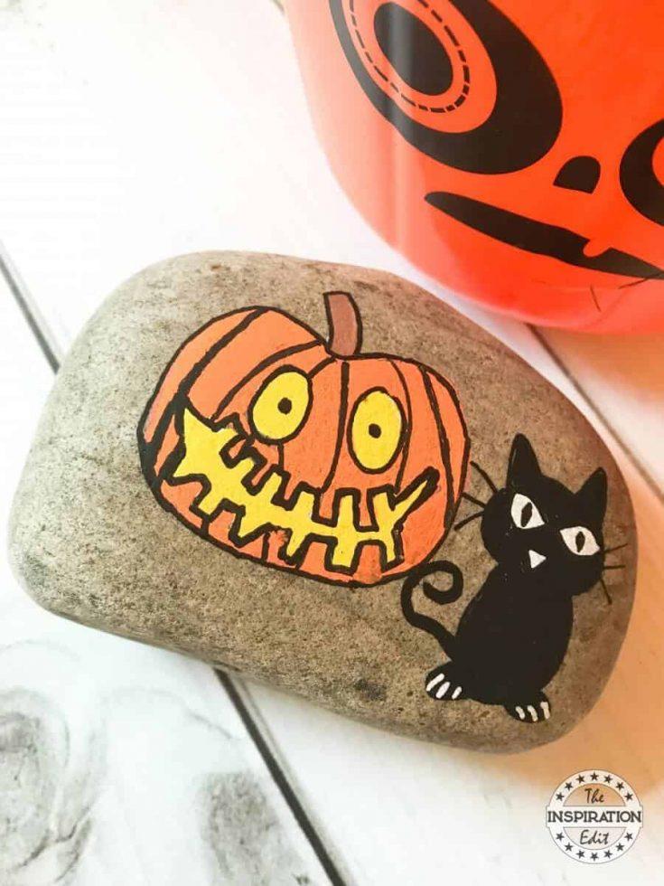 Halloween Black Cat And Pumpkin Painted Rocks Idea