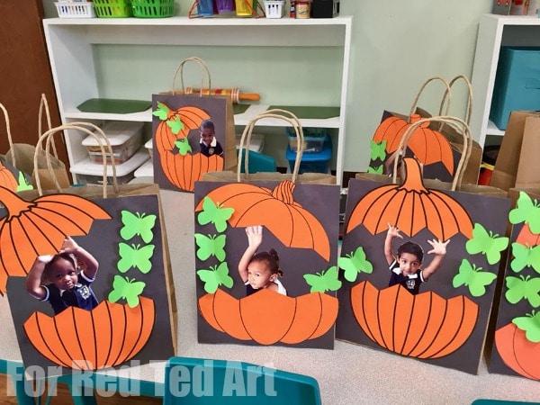 Easy Pumpkin Treat Bags for Preschool