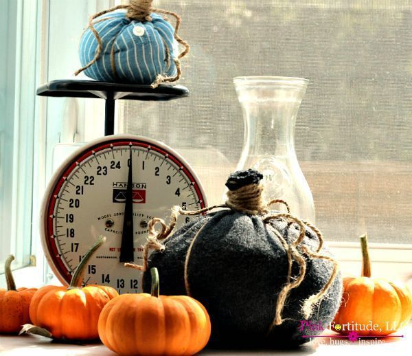 No Sew Fabric Pumpkins – Upcycle Your Old Shirts and Sweaters