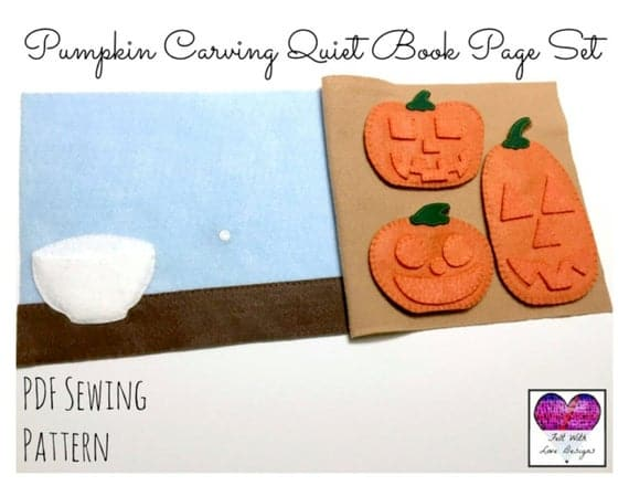 Pumpkin Carving Quiet Book Page Set - PDF Sewing Pattern