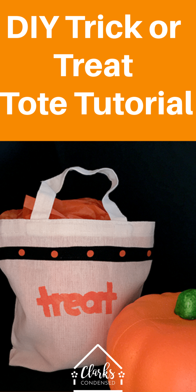 Trick or Treat Tote / Trick or Treat Bag / Halloween Projects / Halloween Cricut Projects via @clarkscondensed