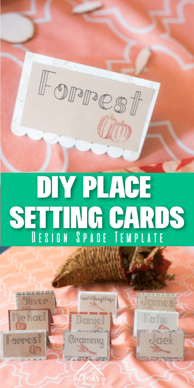 DIY Place Setting Cards for weddings, holidays, and more! #Cricut #Cricutprojects #paper #paperproject via @clarkscondensed