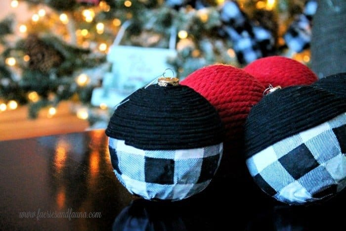 DIY Christmas Ornaments in Black and Buffalo Check