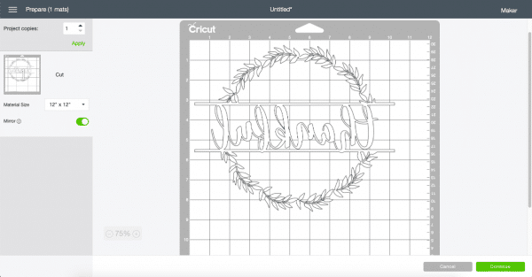 Cricut Cutting Page Screen Shot