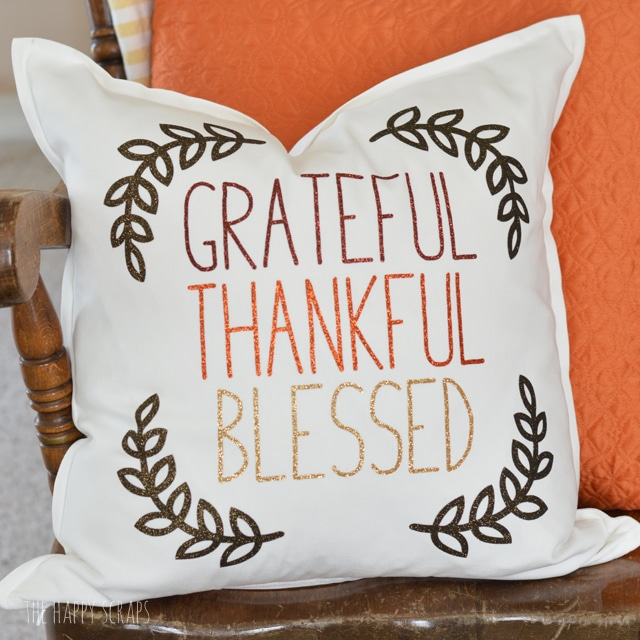 Grateful Thankful Blessed Thanksgiving Pillow