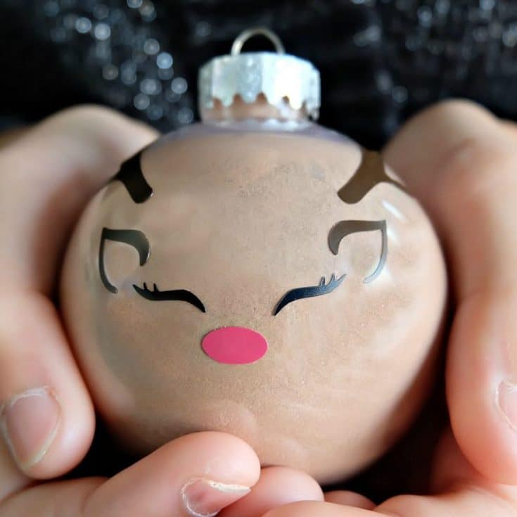 DIY Reindeer Hot Chocolate Ornament With Free Cut File