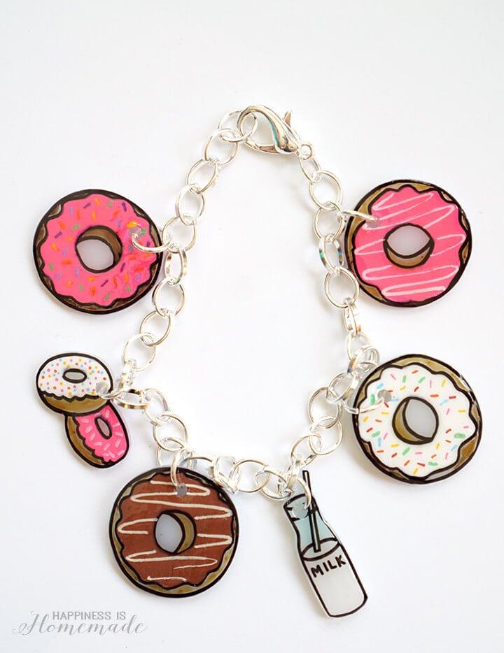 Shrinky Dink Donut Charm Bracelet