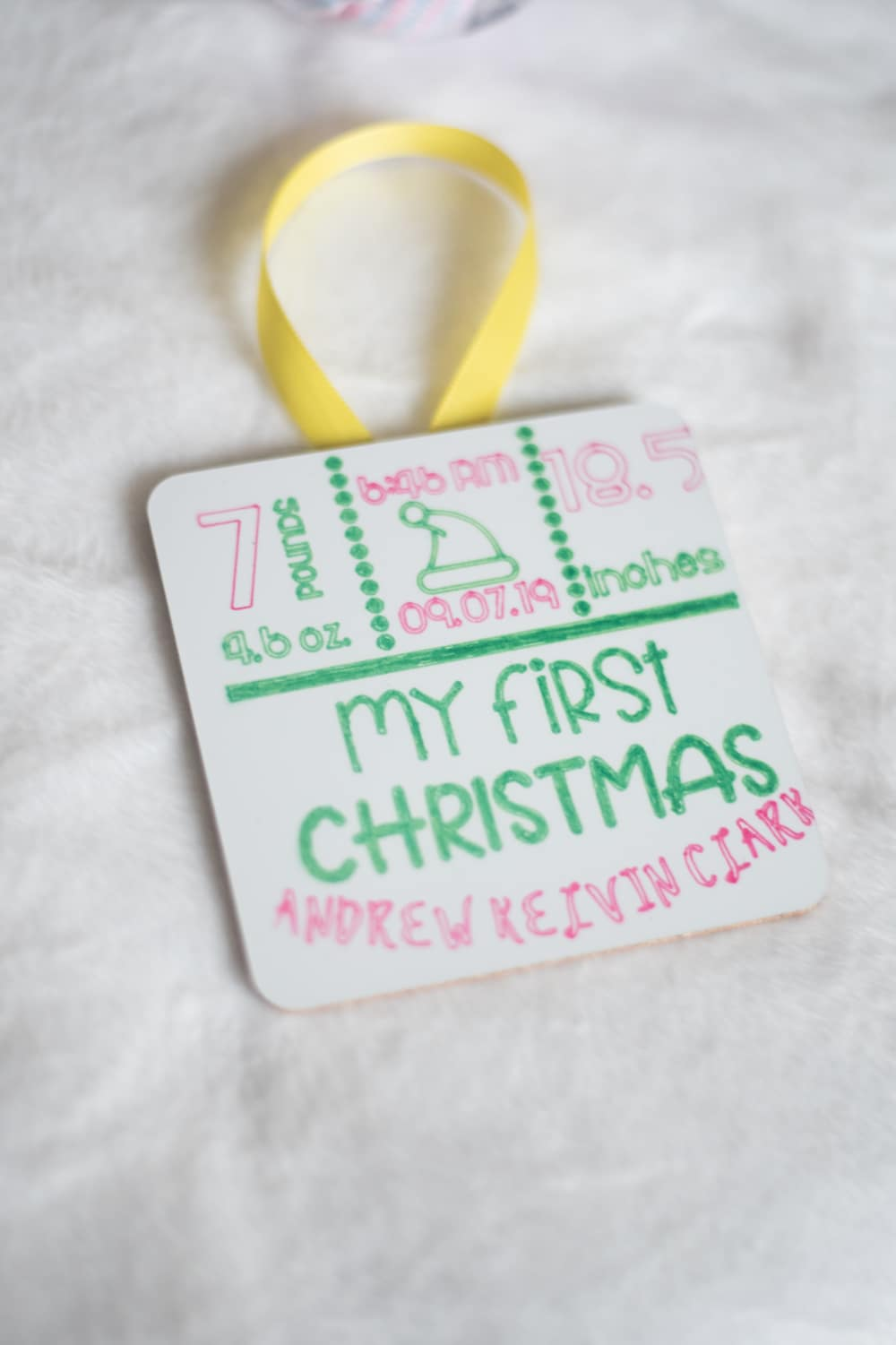 baby's first christmas stat ornament