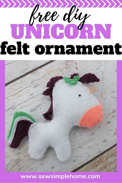 Adorable Felt Unicorn Christmas Ornament Pattern and Cut File