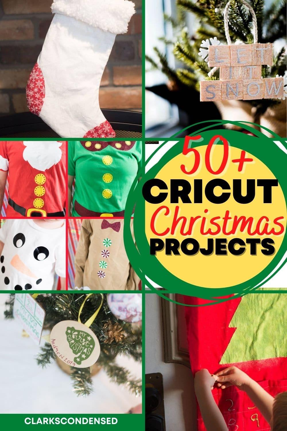 Here are 50+ amazing and jolly Cricut Christmas Projects to keep you busy as you await the most wonderful time of the year - christmas gift ideas, project ideas, gifts to sell, christmas decor, and more! via @clarkscondensed