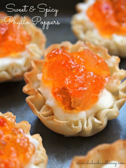 "Sweet and Spicy ""Phyllo Poppers"" - Rhubarb and Honey"