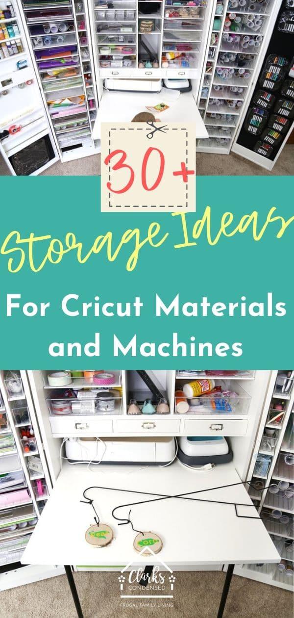 10+ Smart Cricut Storage Ideas for Every Budget and Space - Cricut Explore Air / Cricut Explore Air 2 / Cricut STorage / Cricut Ideas / DIY Cricut Ideas via @clarkscondensed
