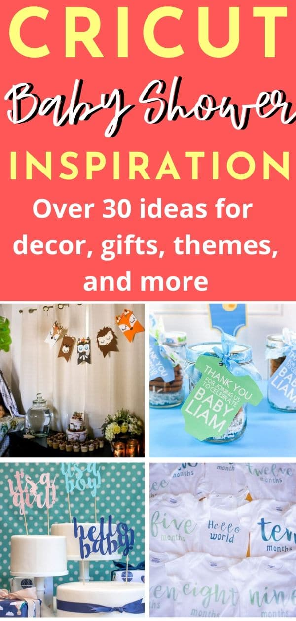 Make any baby shower a little more unique and custom with Cricut! Here are the best Cricut Baby Shower Ideas - from invitations, decor, gift ideas, and more! Cricut Baby Shower Ideas / Cricut Baby Ideas / Cricut Baby Shower Invitations / Cricut Baby Shower Gifts #Cricut #Babyshower #DIY #DIYBabyShower via @clarkscondensed