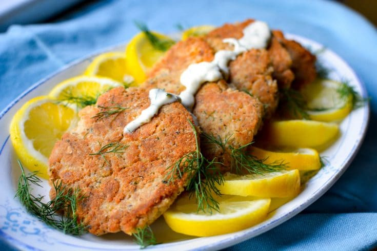 Paleo Salmon Cakes with Lemon Dill Sauce (Whole 30 and Paleo)