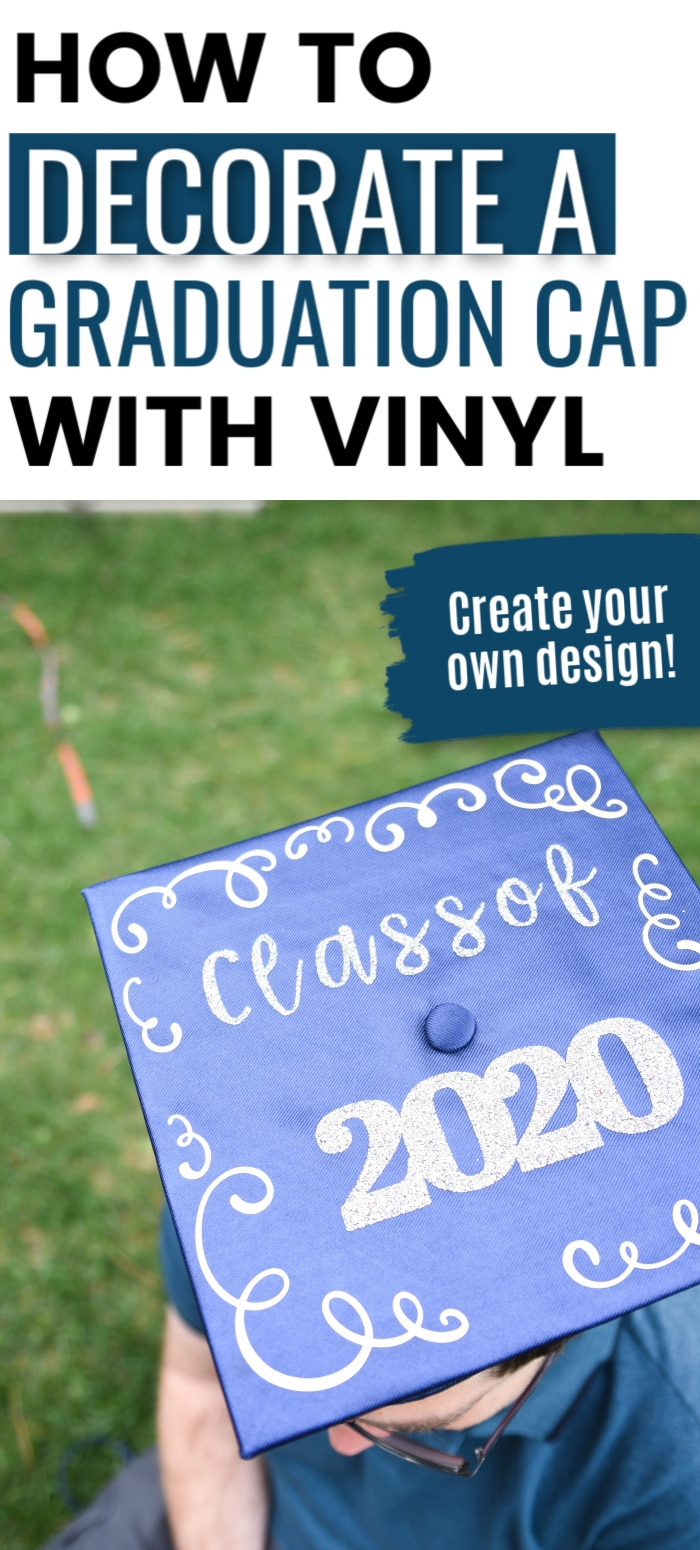 How to Decorate a Graduation Cap with iron on Vinyl - graduation cap designs. Cricut graduation cap via @clarkscondensed
