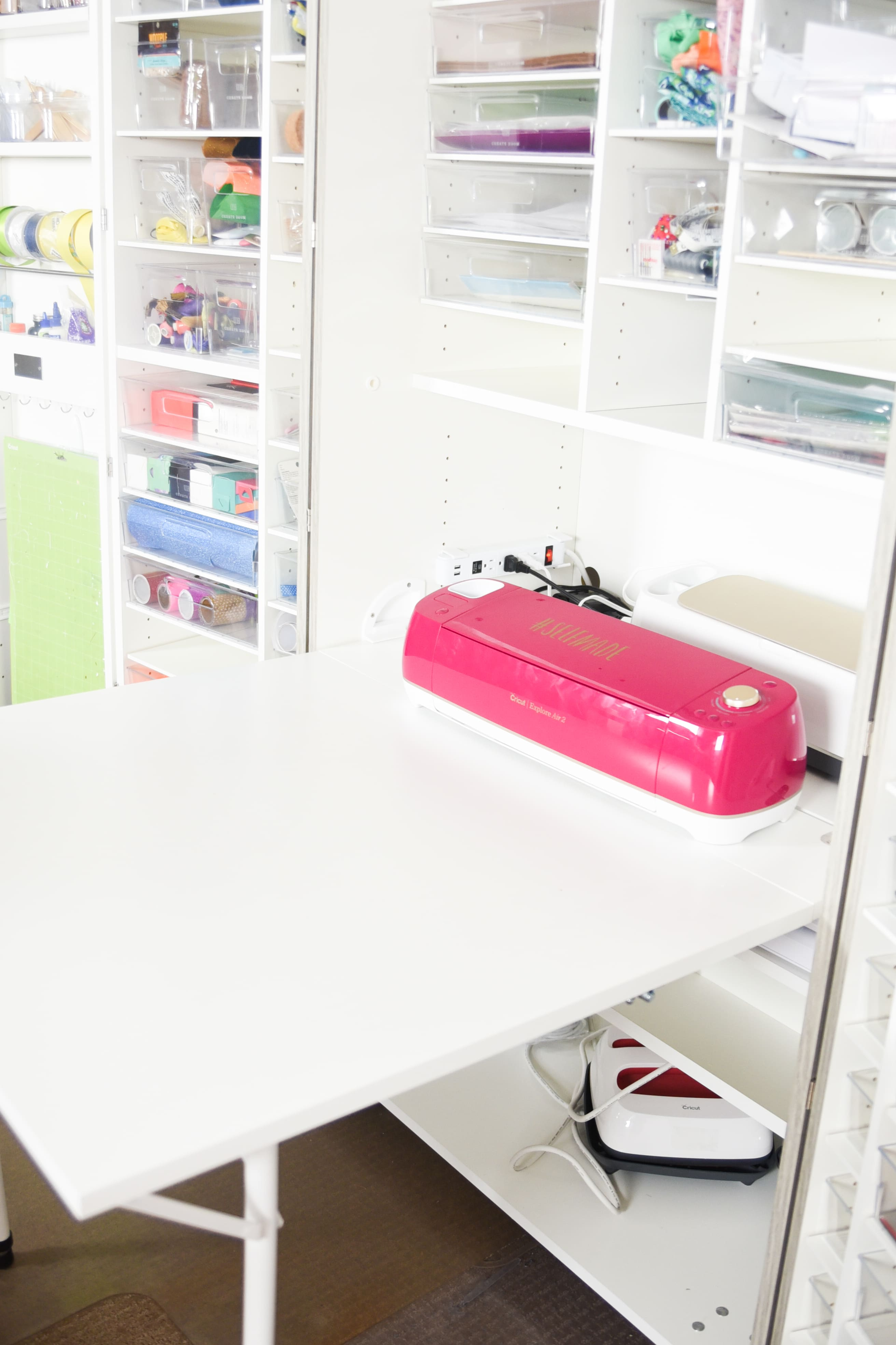 Cricut Explore Air 2 sitting on DreamBox craft storage
