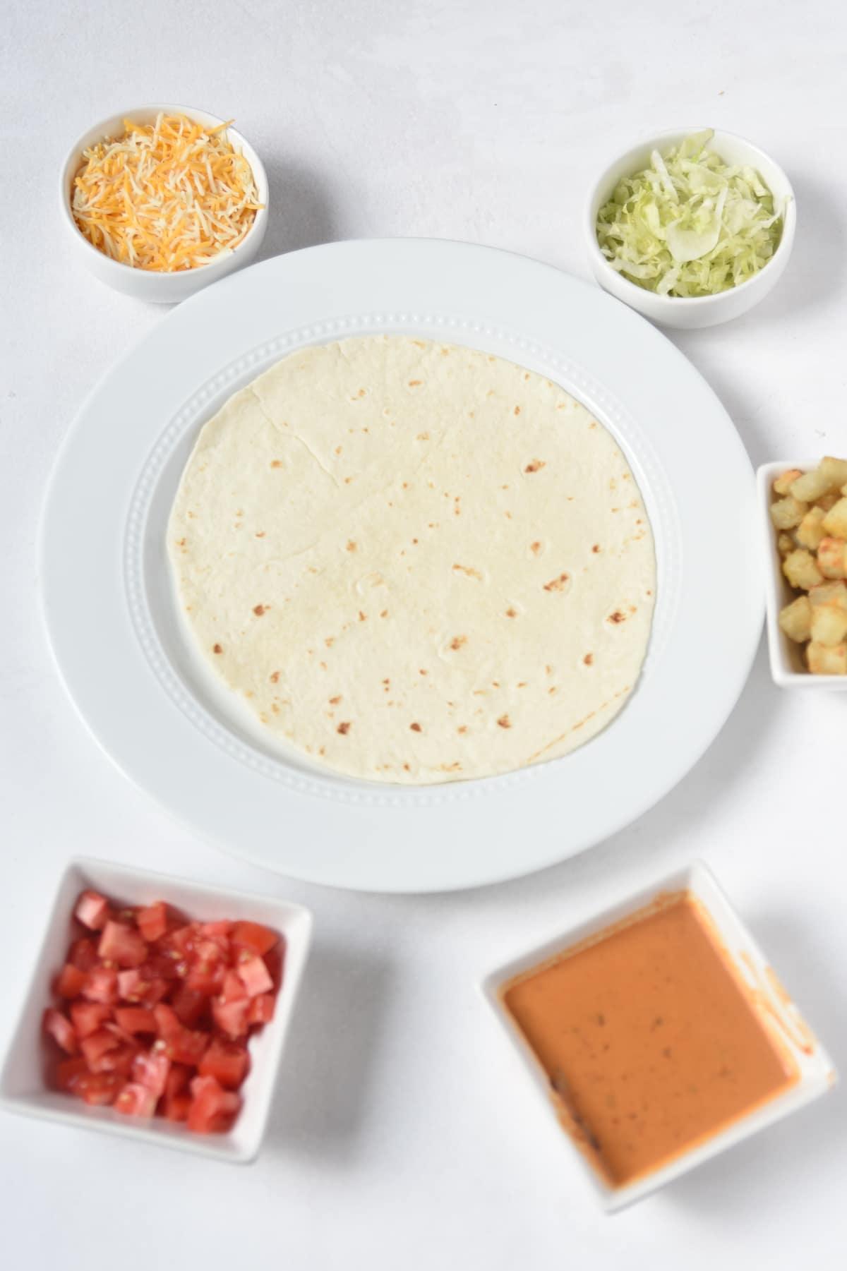 flour tortilla with ingredients