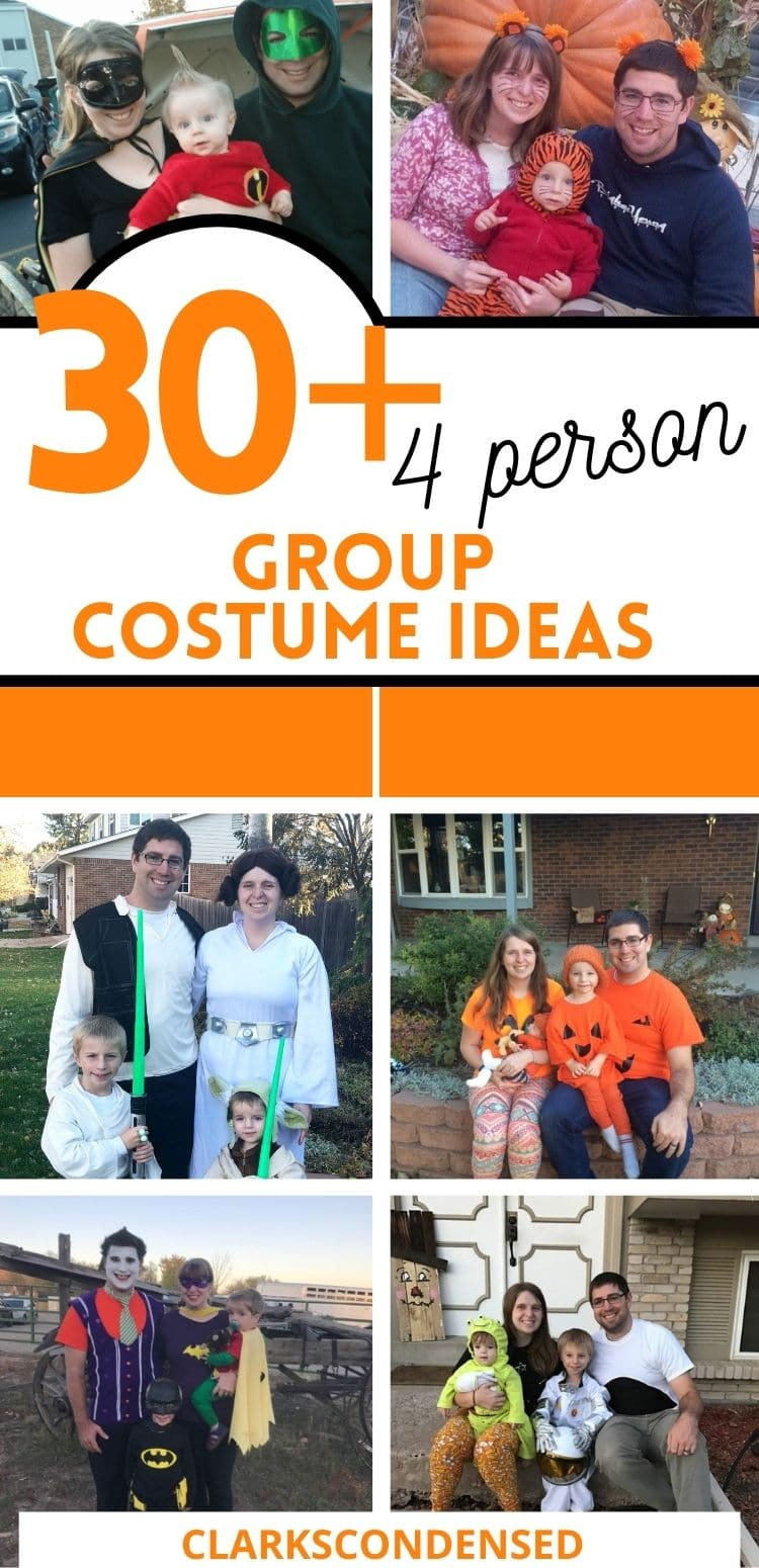 30+ Amazing Halloween Costumes for a Family of Four - if your family loves to dress up for Halloween, you are going to love all of these family friendly costume ideas! via @clarkscondensed