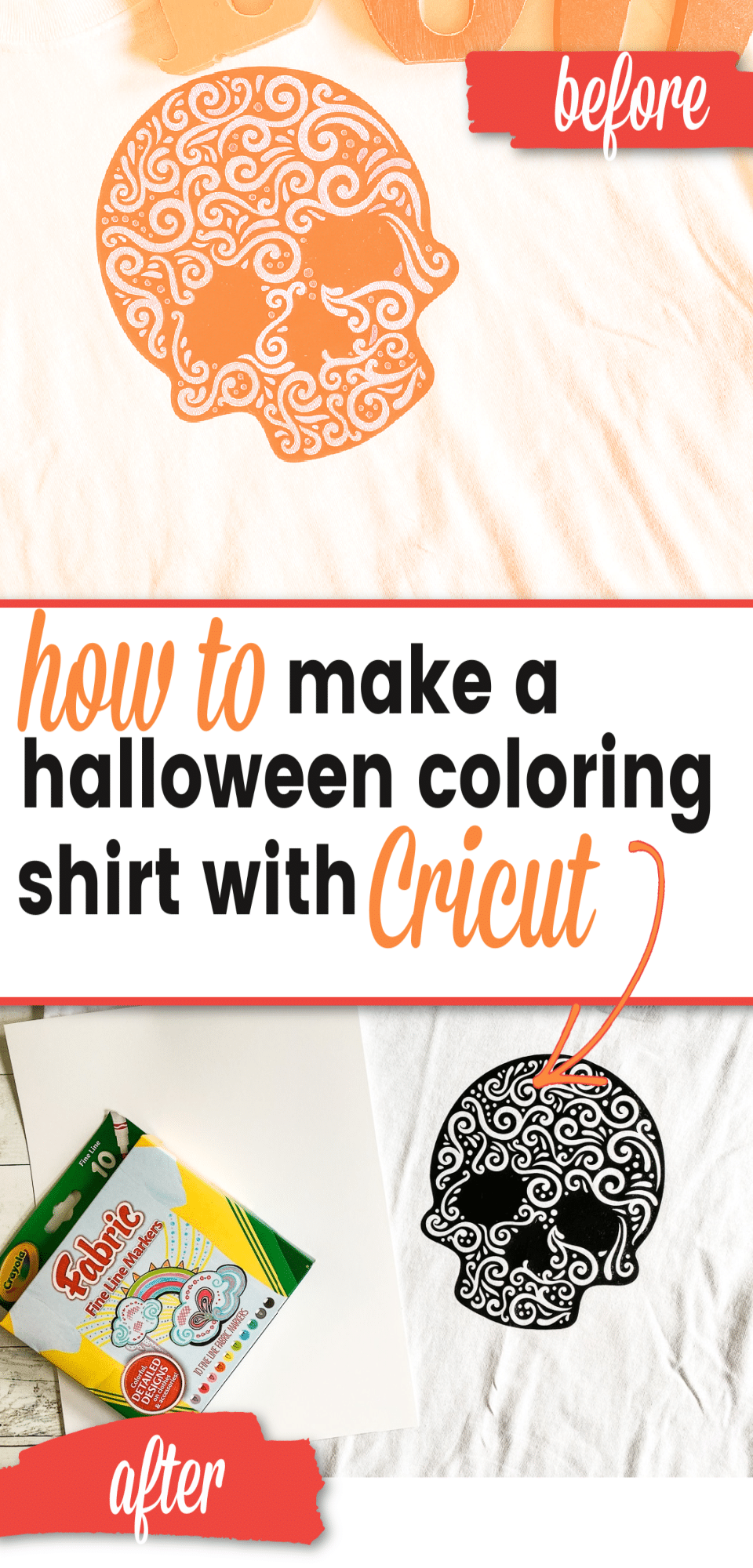 Fun and festive DIY Halloween Shirt with Cricut - it is such a fun color your own shirt. This fun skull shirt is so easy to do and is something all ages can enjoy. via @clarkscondensed