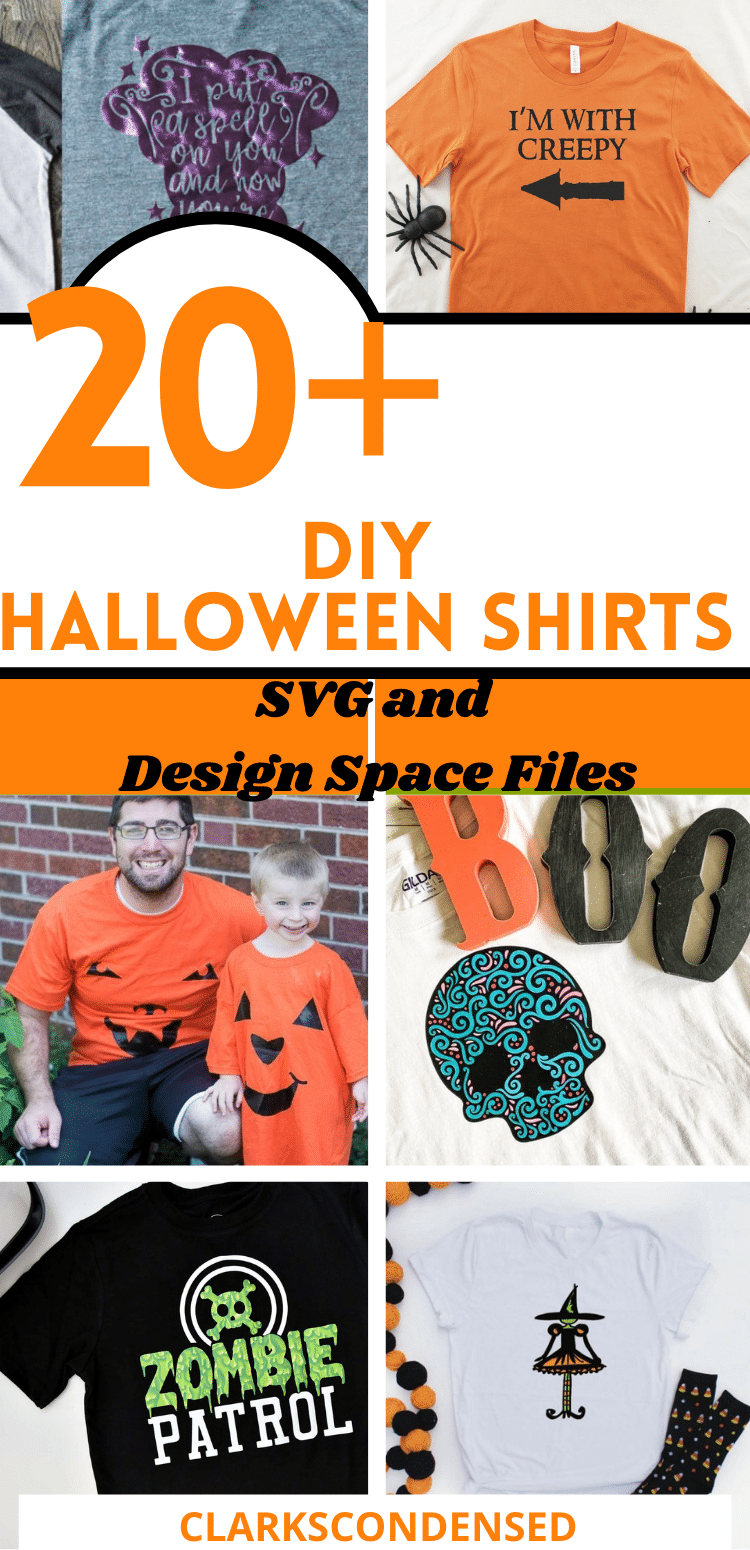 Halloween is quickly approaching! Here are 20+ fun Halloween shirts you can make with your Cricut machine. We have included lots of great Halloween SVG files or Design Space files to make it even easier to make an awesome Halloween shirt this year! via @clarkscondensed