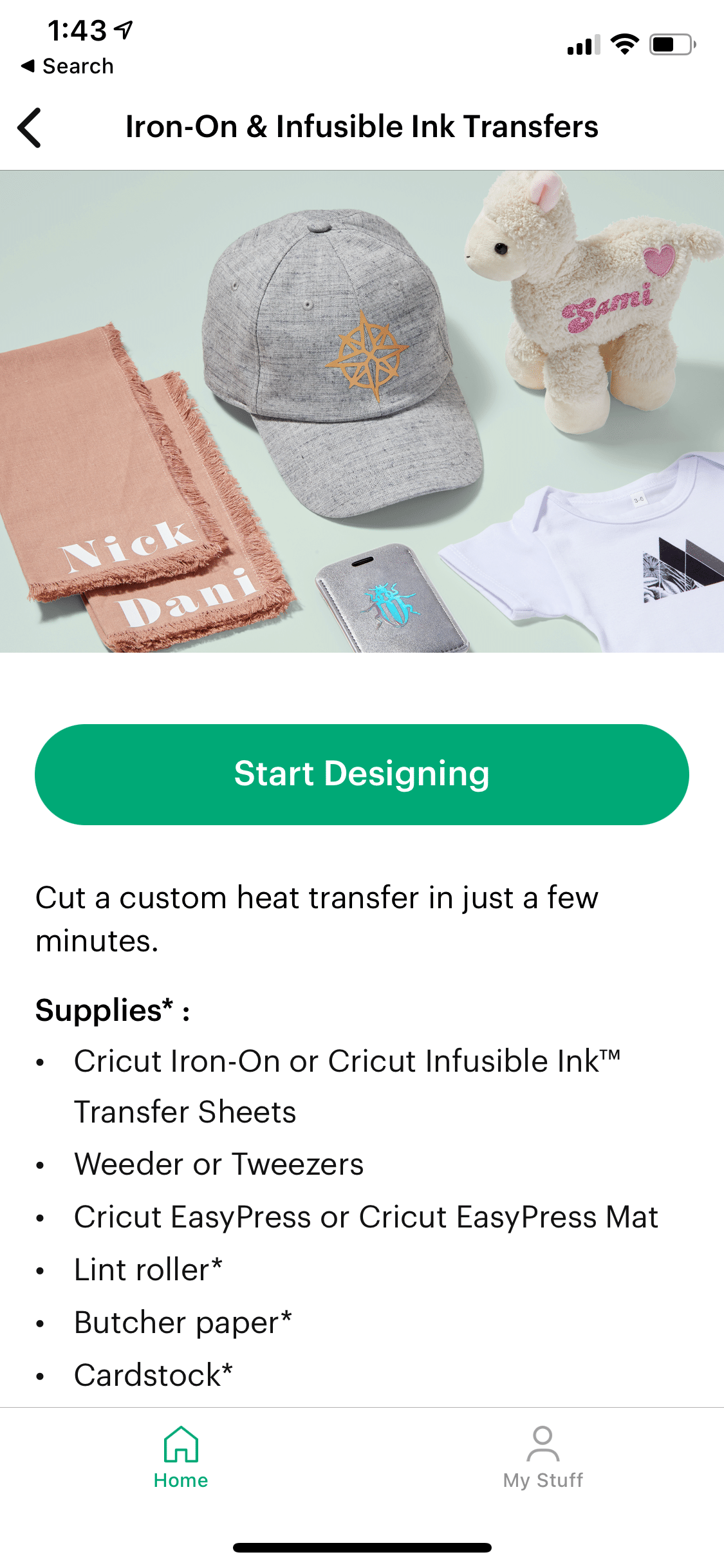 iron on and infusible ink cricut joy app