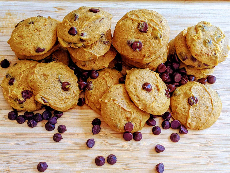 pumpkin chocolate chip cookies on a cutting board