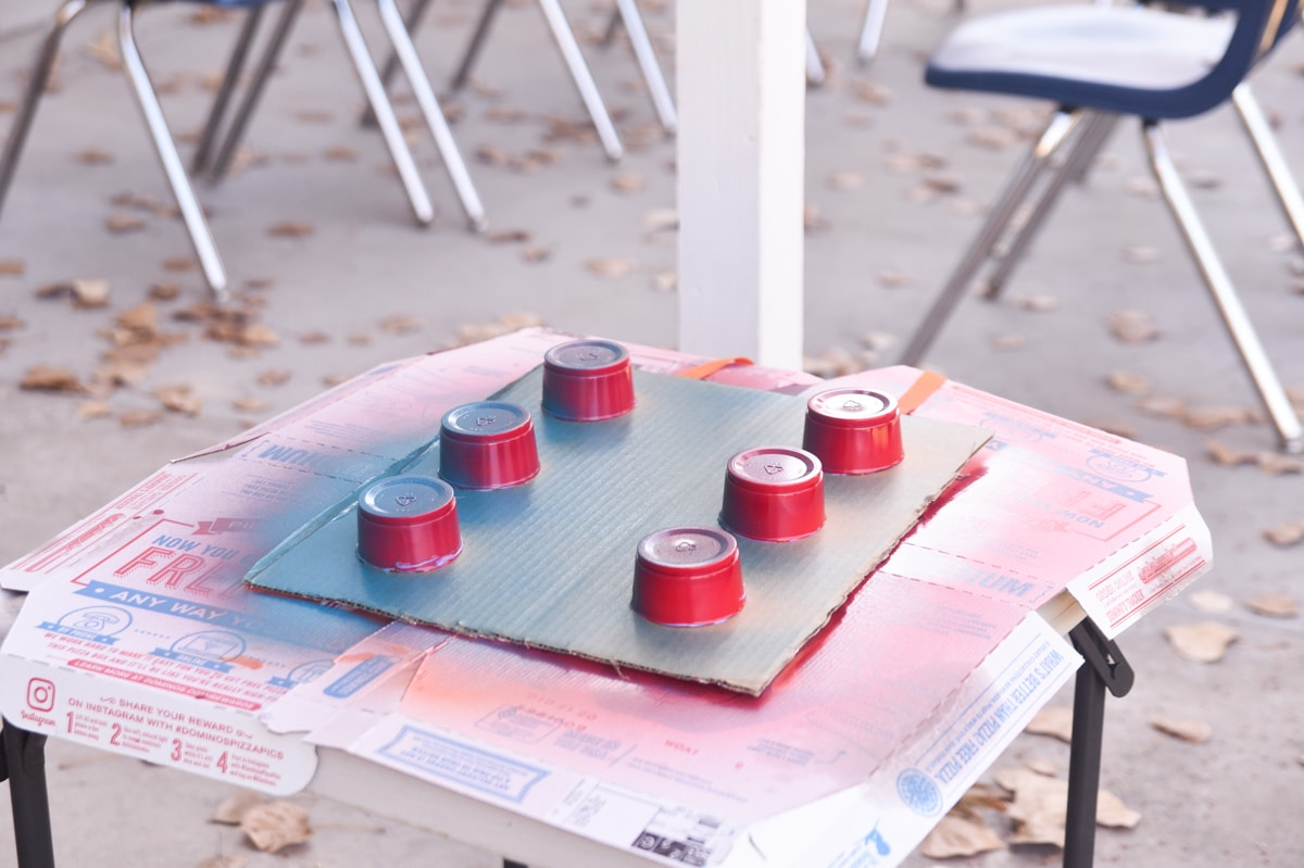 spray painting lego costume